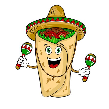 Burrito and maraca pop art vector illustration Ilustração