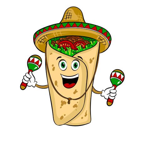 Burrito and maraca pop art vector illustration Illustration