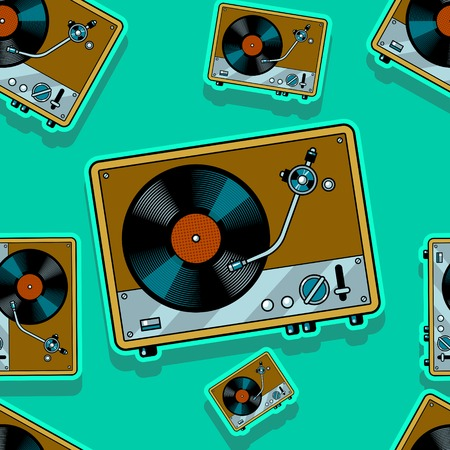 Record player turntable seamless pattern Vector illustration.