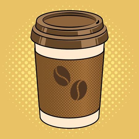 Coffee cup pop art vector illustration