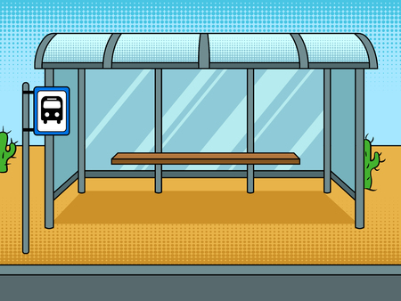 Bus stop cartoon pop art vector illustration Vectores