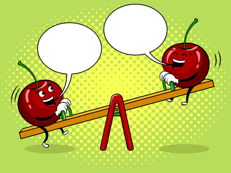Cherry on seesaw pop art vector illustration