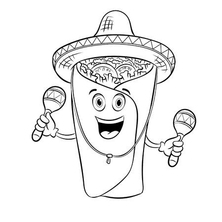 Burrito and maraca coloring book vector