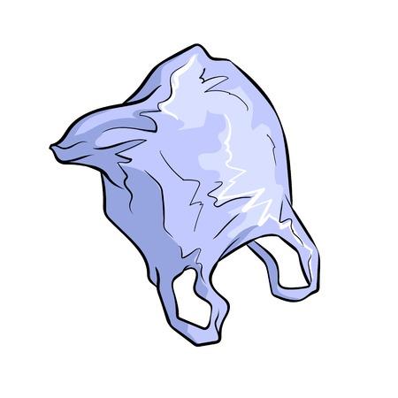 Plastic zakvlieg in retro vectorillustratie van het hemelpop-art. Geïsoleerd beeld op witte achtergrond. Imitatie van een stripboek. Vector Illustratie
