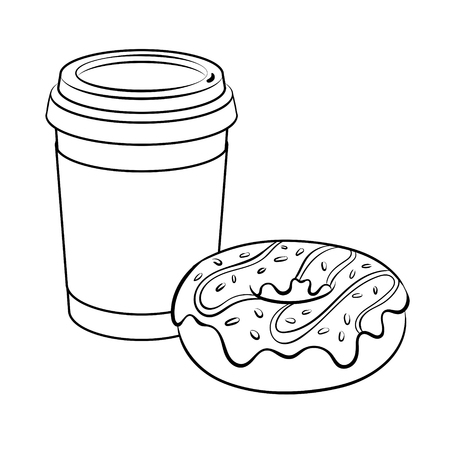 Cartoon coffee and donut coloring vector illustration. Isolated image on white background. Comic book style imitation.