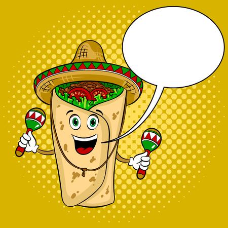 Burrito and maracas pop art vector illustration Illustration