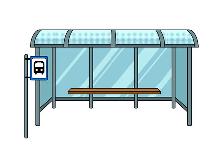 Bus stop cartoon pop art vector illustration Ilustracja