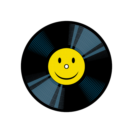 Vinyl record with yellow smile pop art vector Illustration
