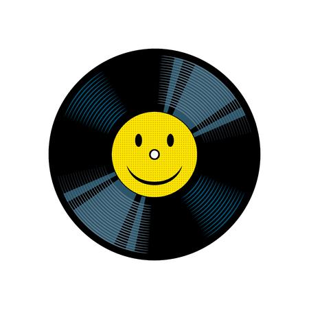 Vinyl record with yellow smile pop art vector Çizim