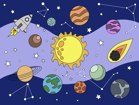 Cartoon space coloring vector illustration. Color image.