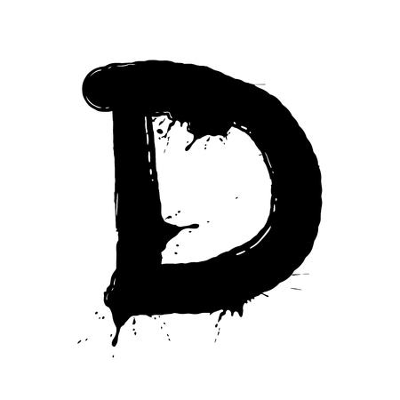 Blot letter D vector illustration. Font alphabet art. Scratch board style imitation. Hand drawn image.