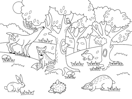 Cartoon forest coloring vector illustration. Black and white image.