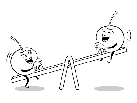 Cherry on seesaw coloring book Stock Photo