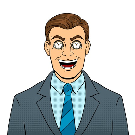 Businessman with clock in eyes pop art vector