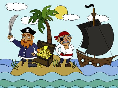Cartoon pirates on an uninhabited island coloring vector illustration.  イラスト・ベクター素材