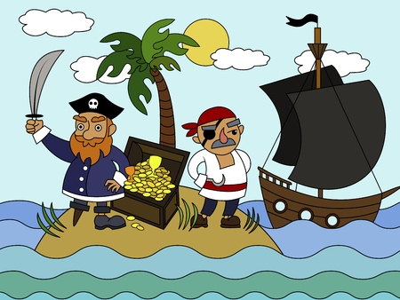 Cartoon pirates on an uninhabited island coloring vector illustration. Ilustração