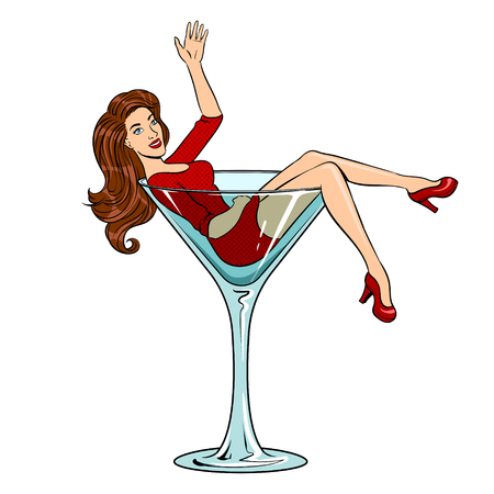 Beauty young woman in glass for alcohol pop art 版權商用圖片