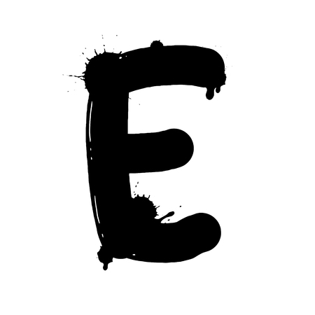 Blot letter E black and white vector illustration