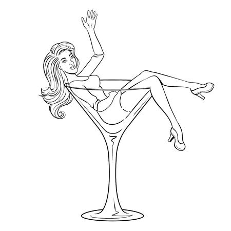 Beauty woman in glass pop art coloring vector illustration. Stock Illustratie