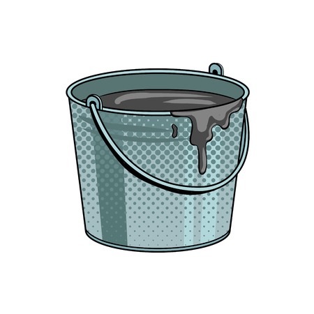 Bucket with cement mortar pop art vector illustration.