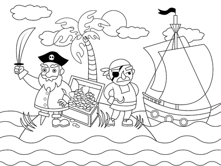 Cartoon pirates on an uninhabited island coloring vector illustration. Black and white image. Stock Illustratie