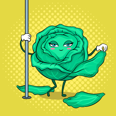 Cabbage stripper pole dancer undresses pop art retro vector illustration. Cartoon food character. Color background. Comic book style imitation.