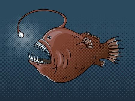 라이트 팝 아트 벡터와 심해 물고기