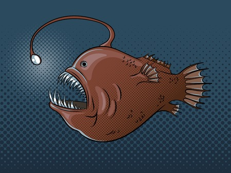 Deep sea fish with light pop art vector