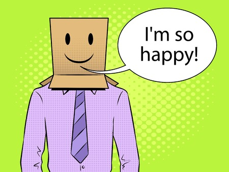 Man with box happy emoji on head pop art vector Illustration