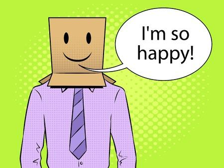 Man with box happy emoji on head pop art vector Vettoriali