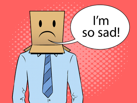 Man with box sad emoji smile on head pop art retro vector illustration. Text bubble. Color background. Comic book style imitation. Illustration