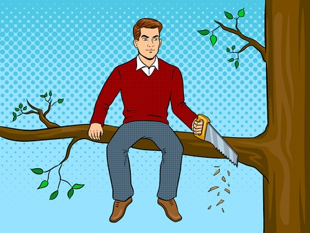 Man sawing tree branch and sit pop art vector illustration. Vettoriali