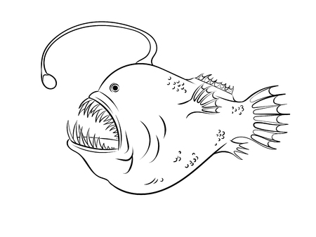 Deep sea fish with light coloring vector Çizim