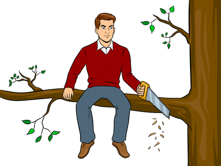 Man sawing tree branch and sit pop art vector Иллюстрация