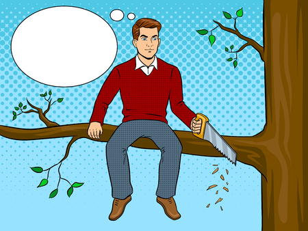 Man sawing tree branch and sit pop art vector Vettoriali