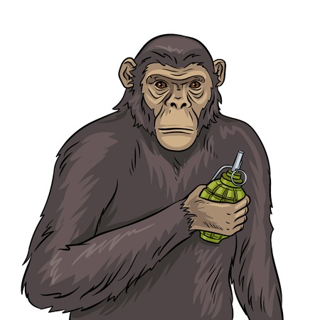 Aap met de vectorillustratie van het granaatpop-art