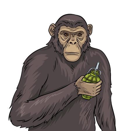 Affe mit Granatenpop-art-Vektorillustration Standard-Bild - 97347125