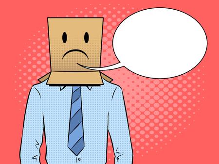 Man with box sad emoji on head pop art vector Standard-Bild - 97330904