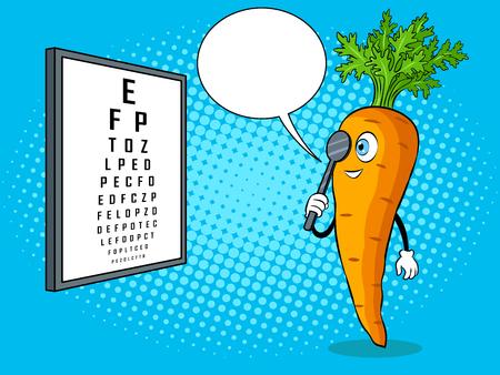 Carrot check vision pop art vector illustration