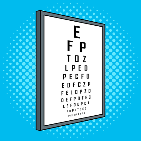 Snellen chart test vision table pop art retro vector illustration. Cartoon food character. Color background. Comic book style imitation.