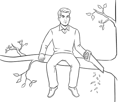 Man sawing tree branch on which sits coloring vector illustration