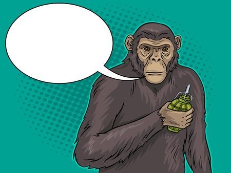 Monkey with grenade bomb in hand pop art retro vector illustration