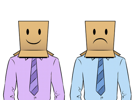 Men with happy and sad paper bags on head pop art retro vector illustration