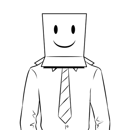 Man with paper bag smiling on head coloring vector illustration Illustration