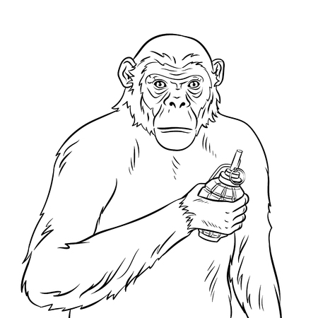 Monkey with grenade coloring vector illustration