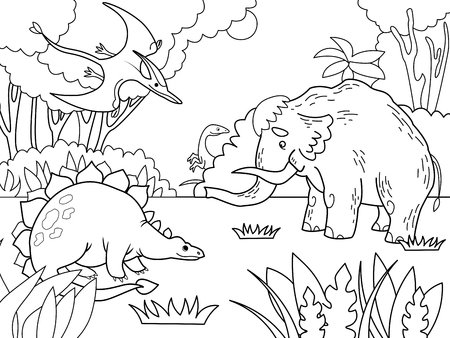 Cartoon prehistoric animals coloring vector illustration. Black and white image.