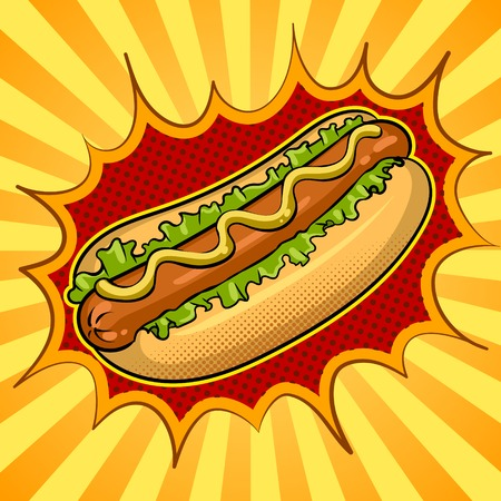 Hot dog pop art vector illustration Foto de archivo - 97685735