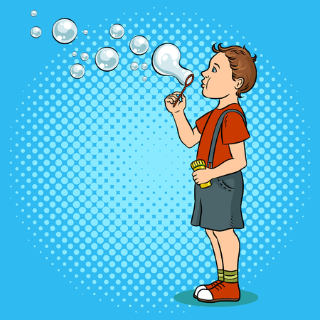 Child blowing bubbles pop art vector illustration Foto de archivo - 97685736