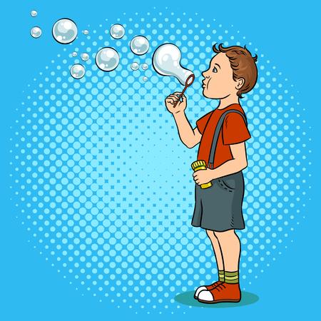 Child blowing bubbles pop art vector illustration