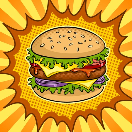 Burger sandwich pop art vector illustration Illustration